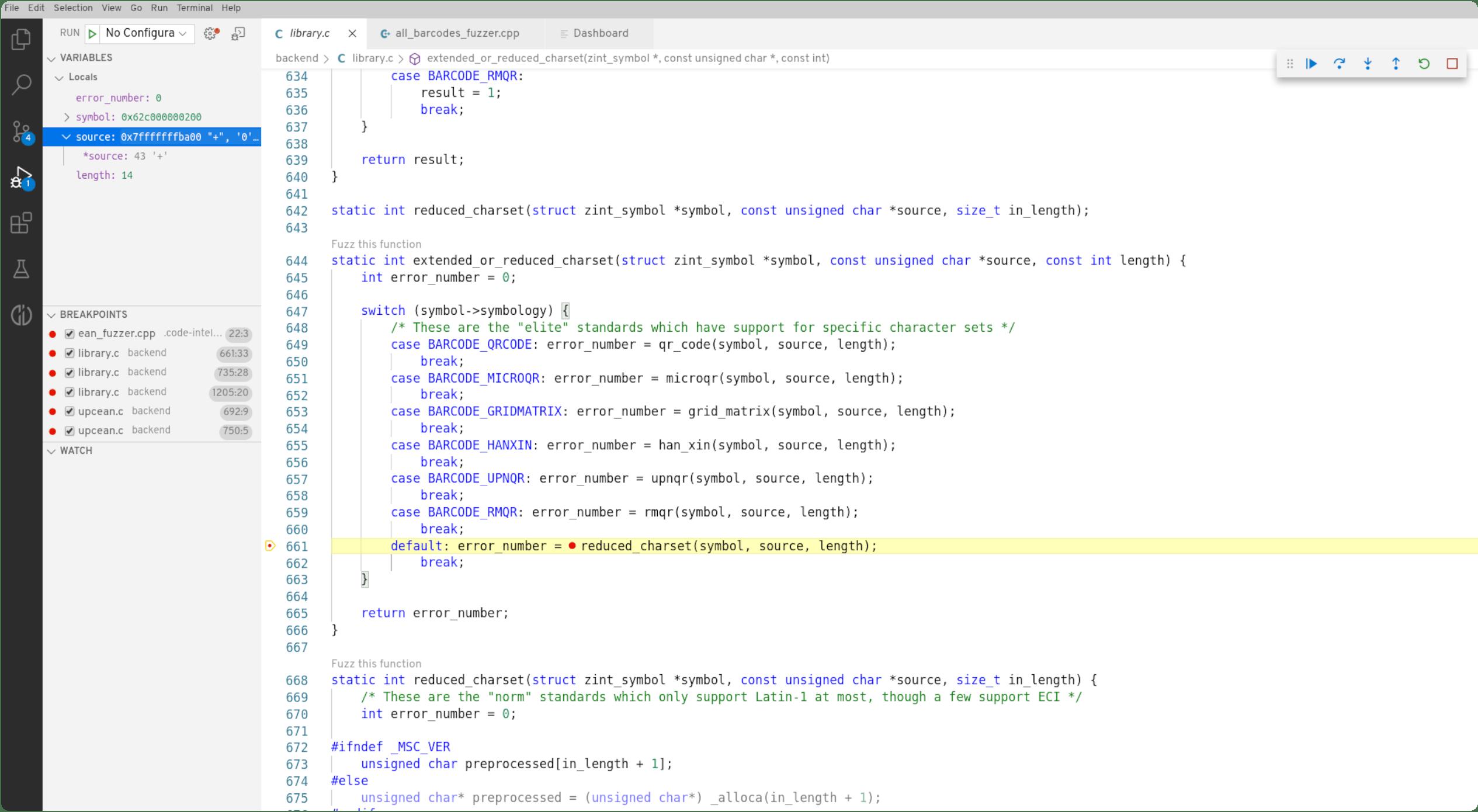 Screenshot CI Fuzz visual debugging interface